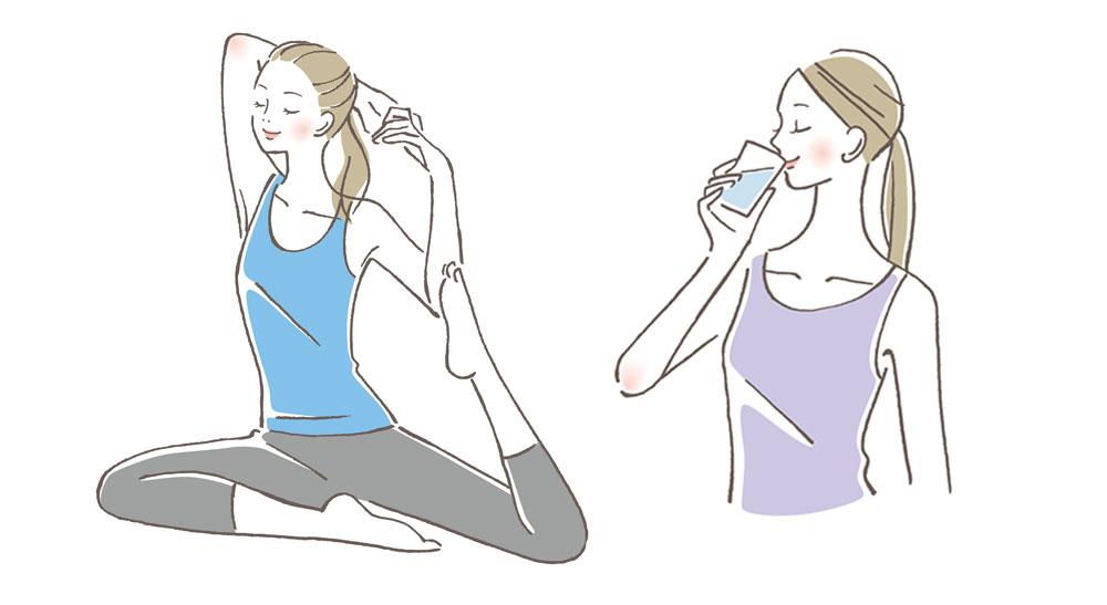 運動し水を飲む女性